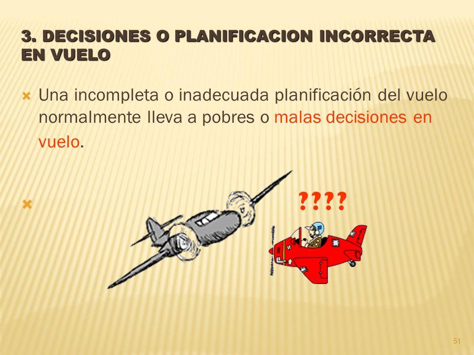 3. DECISIONES O PLANIFICACION INCORRECTA EN VUELO Una incompleta o inadecuada planificación del vuelo normalmente lleva a pobres o malas decisiones en