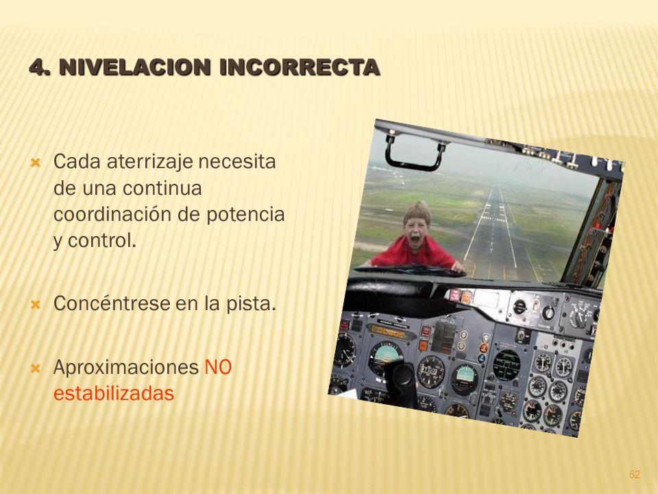 Cada aterrizaje necesita de una continua coordinación de potencia y control.