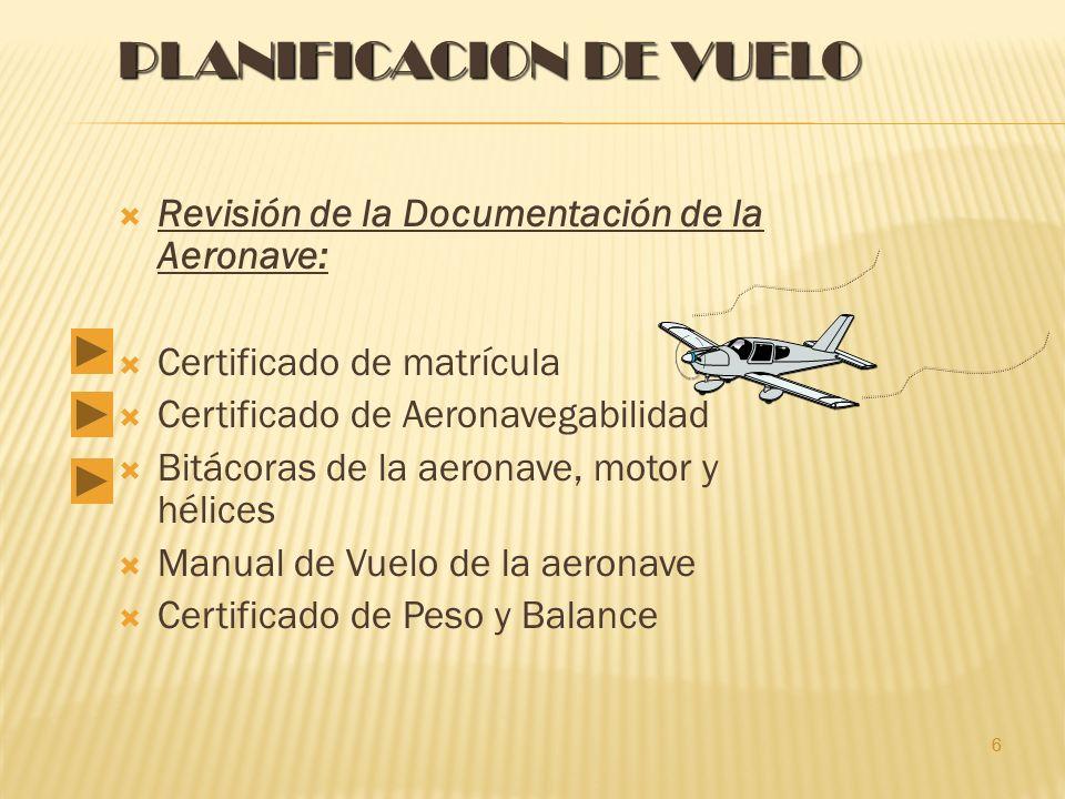 6 PLANIFICACION DE VUELO Revisión de la Documentación de la Aeronave: Certificado de matrícula Certificado de Aeronavegabilidad Bitácoras de la aeronave, motor y hélices Manual de Vuelo de la aeronave Certificado de Peso y Balance 6