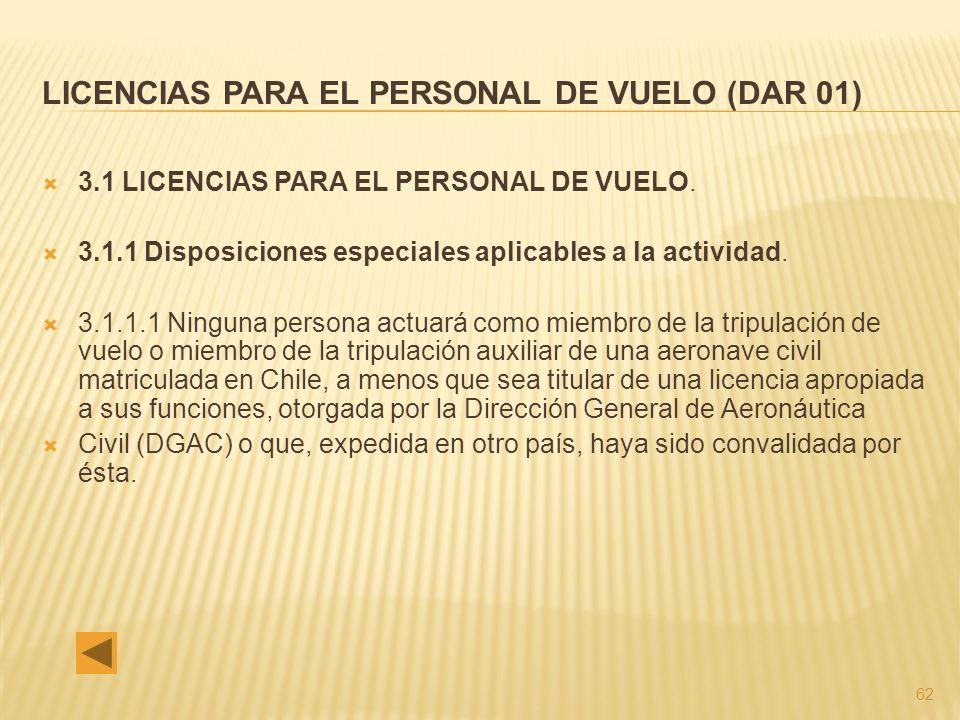 62 LICENCIAS PARA EL PERSONAL DE VUELO (DAR 01) 3.1 LICENCIAS PARA EL PERSONAL DE VUELO.