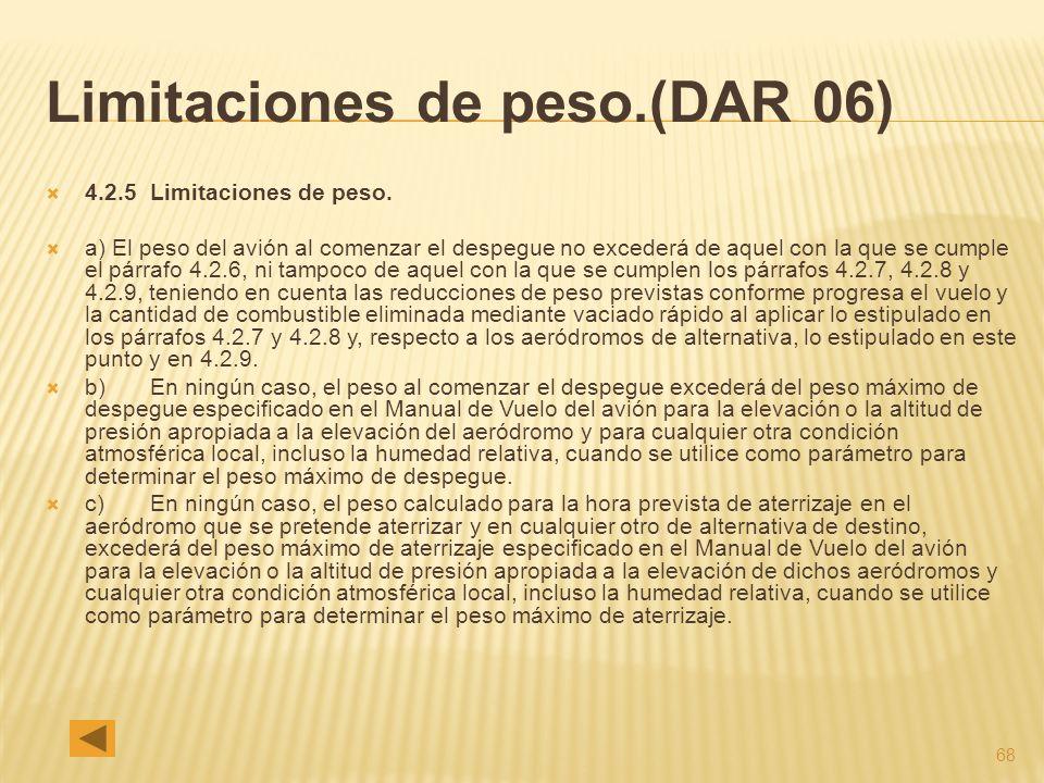 68 Limitaciones de peso.(DAR 06) 4.2.5 Limitaciones de peso. a) El peso del avión al comenzar el despegue no excederá de aquel con la que se cumple el