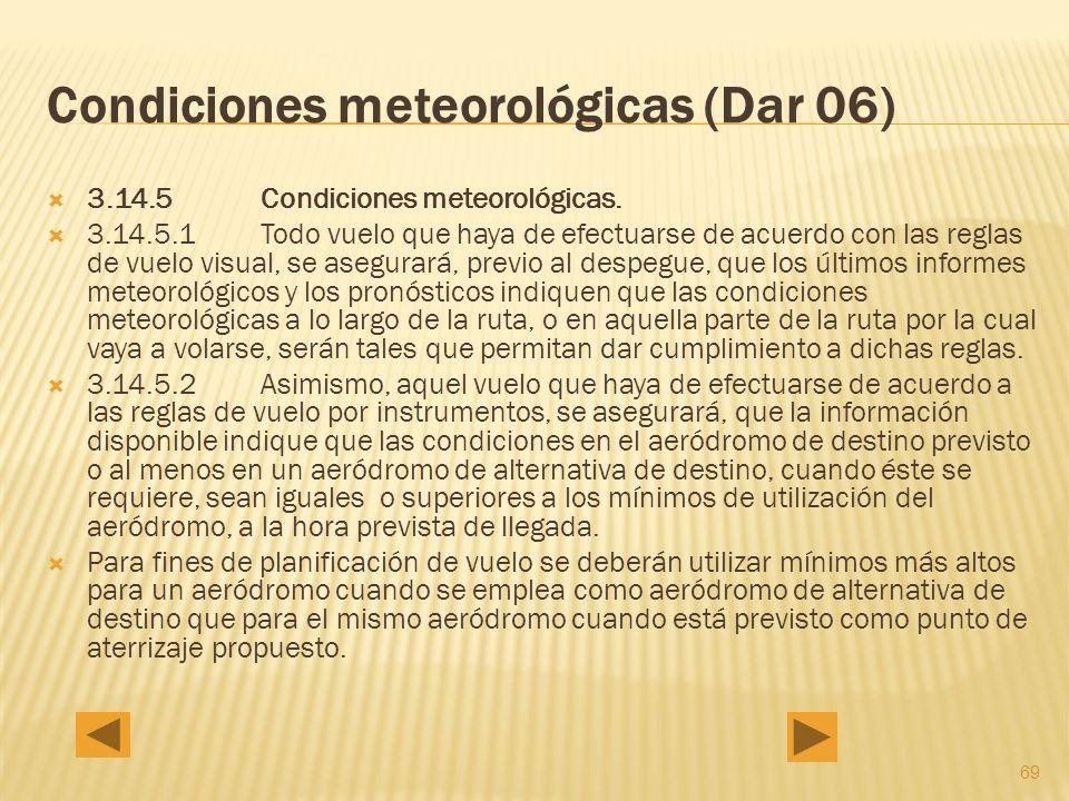 69 Condiciones meteorológicas (Dar 06) 3.14.5 Condiciones meteorológicas.
