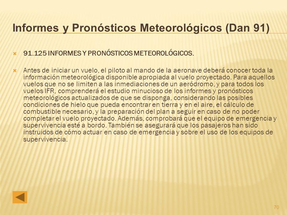 70 Informes y Pronósticos Meteorológicos (Dan 91) 91.125 INFORMES Y PRONÓSTICOS METEOROLÓGICOS.