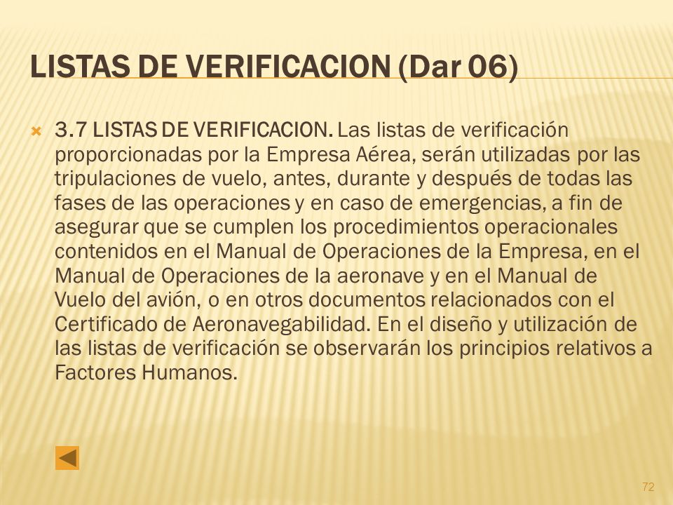 72 LISTAS DE VERIFICACION (Dar 06) 3.7 LISTAS DE VERIFICACION.