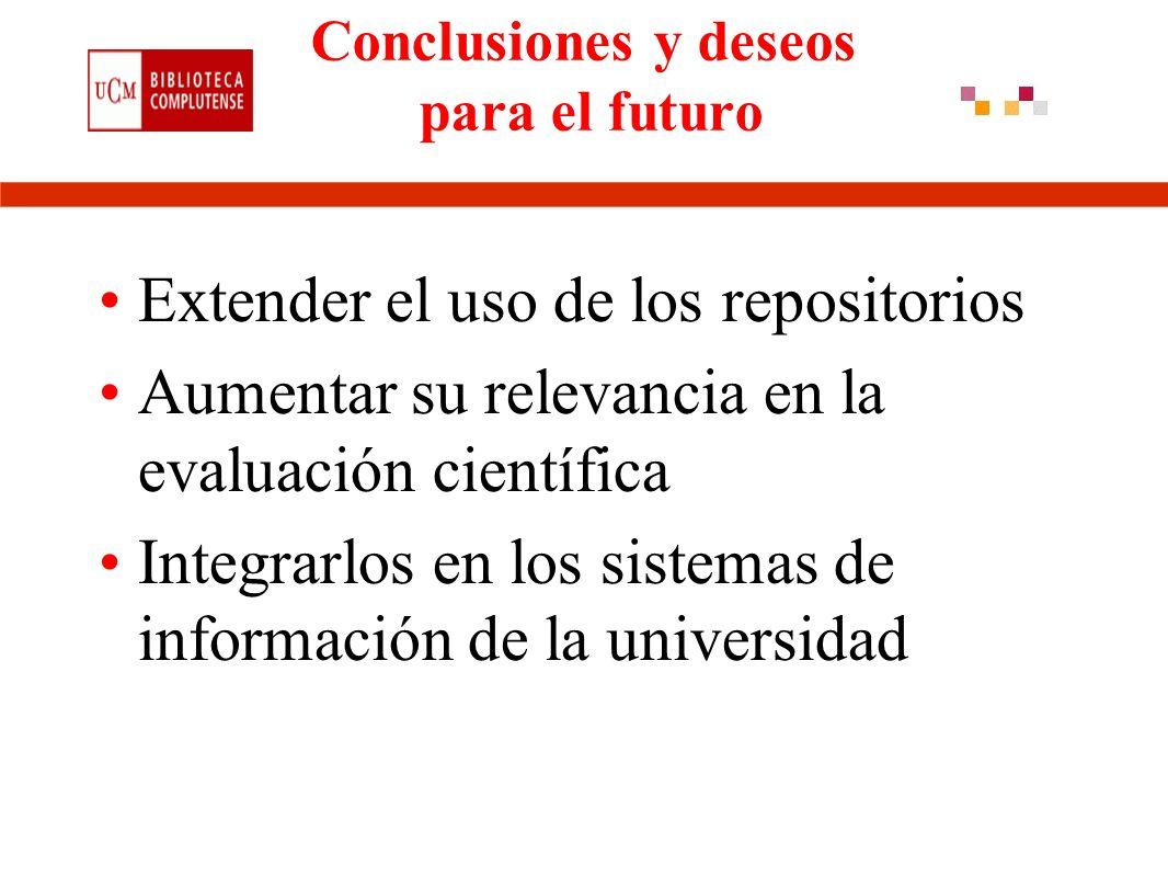 Conclusiones y deseos para el futuro Extender el uso de los repositorios Aumentar su relevancia en la evaluación científica Integrarlos en los sistemas de información de la universidad