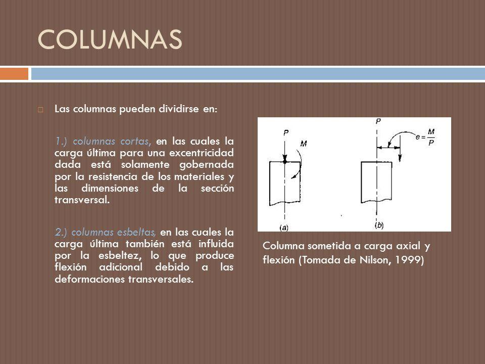 COLUMNAS Las columnas pueden dividirse en: 1.) columnas cortas, en las cuales la carga última para una excentricidad dada está solamente gobernada por la resistencia de los materiales y las dimensiones de la sección transversal.