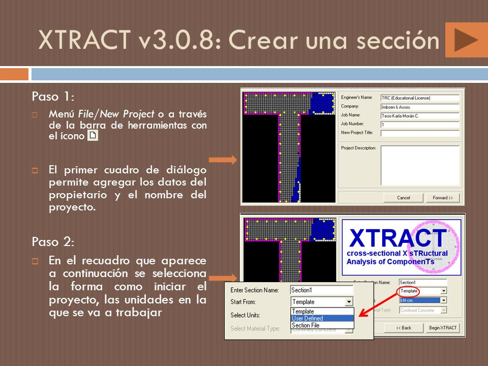 XTRACT v3.0.8: Crear una sección Paso 1: Menú File/New Project o a través de la barra de herramientas con el ícono El primer cuadro de diálogo permite agregar los datos del propietario y el nombre del proyecto.