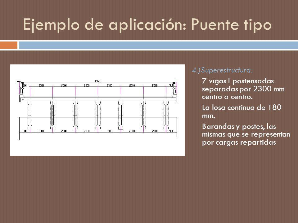 4.)Superestructura: 7 vigas I postensadas separadas por 2300 mm centro a centro.