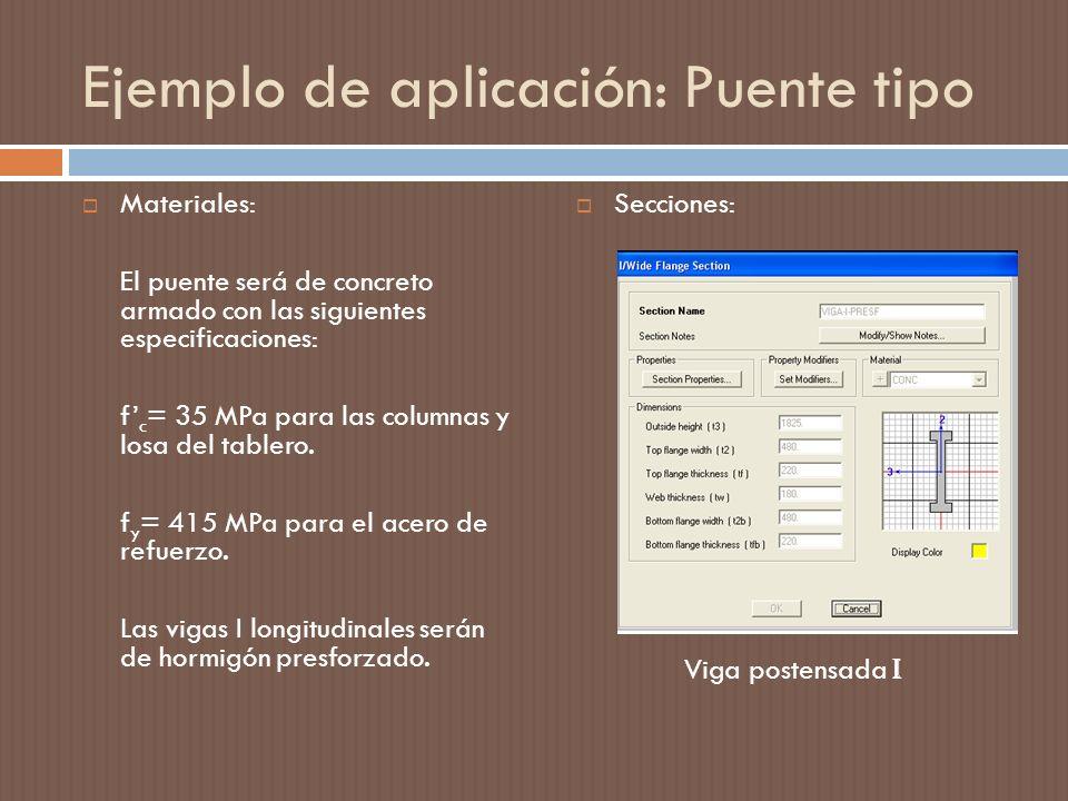 Ejemplo de aplicación: Puente tipo Materiales: El puente será de concreto armado con las siguientes especificaciones: f c = 35 MPa para las columnas y losa del tablero.
