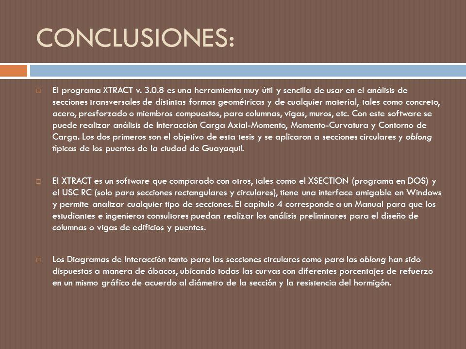 CONCLUSIONES: El programa XTRACT v.