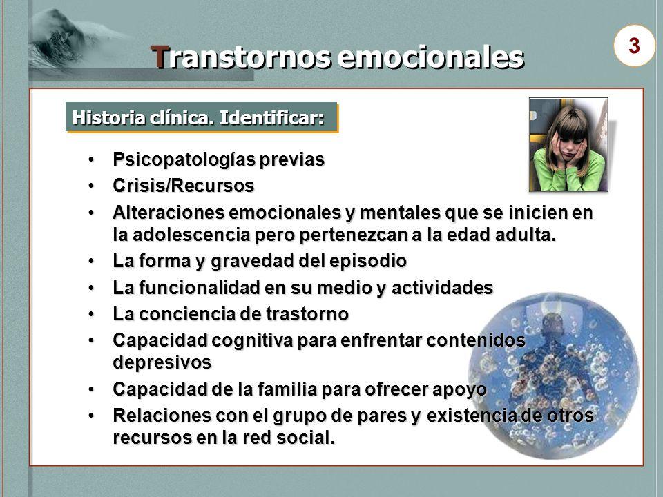 Historia clínica. Identificar: Transtornos emocionales 3 Psicopatologías previasPsicopatologías previas Crisis/RecursosCrisis/Recursos Alteraciones em