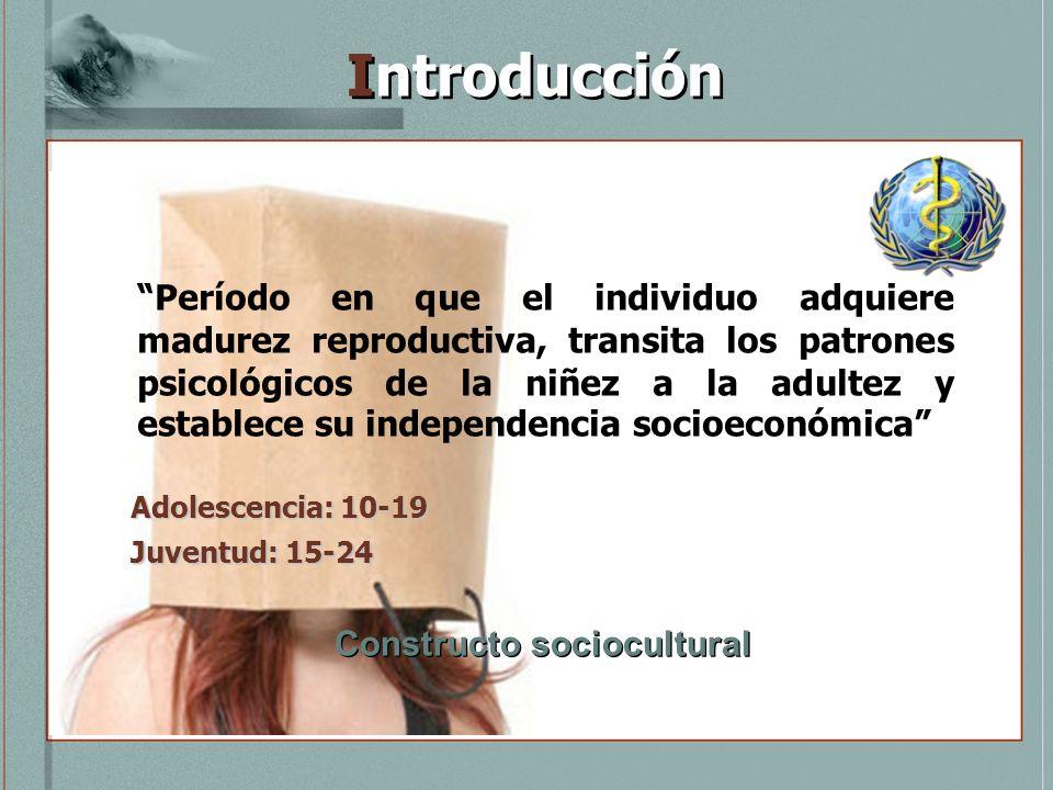 Introducción Período en que el individuo adquiere madurez reproductiva, transita los patrones psicológicos de la niñez a la adultez y establece su ind
