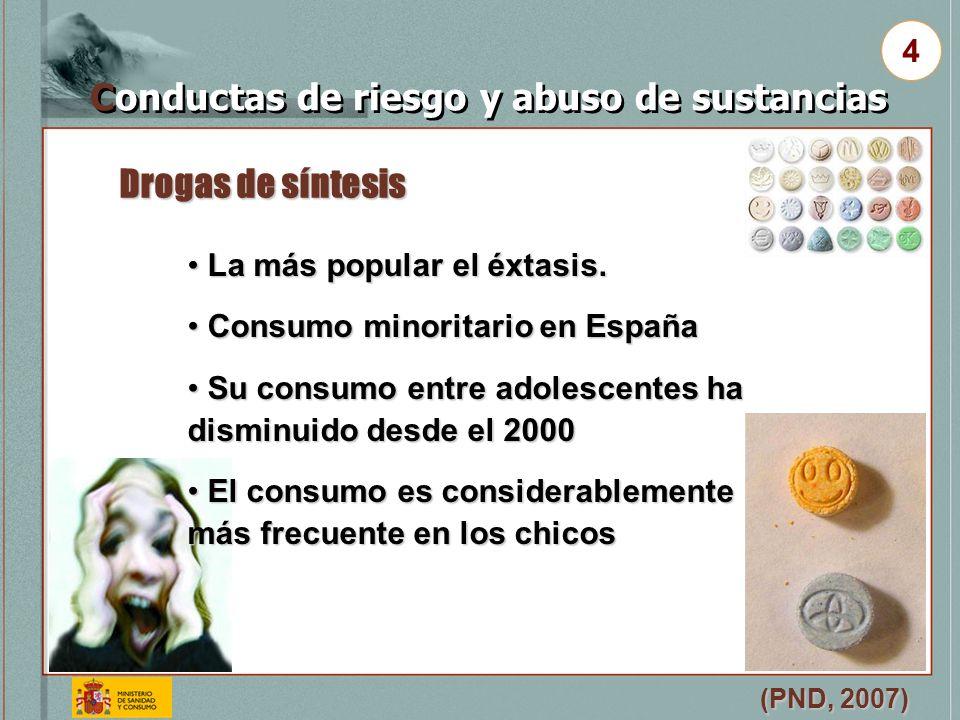 Drogas de síntesis (PND, 2007) Conductas de riesgo y abuso de sustancias 4 La más popular el éxtasis. La más popular el éxtasis. Consumo minoritario e