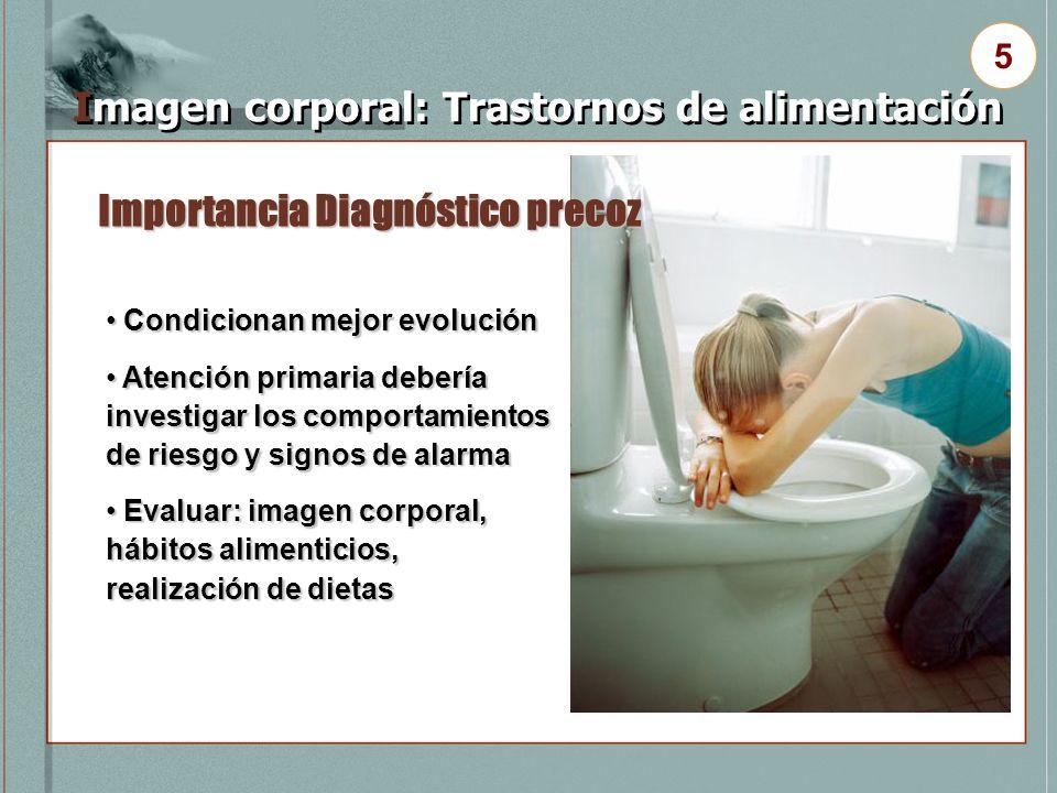Importancia Diagnóstico precoz Imagen corporal: Trastornos de alimentación 5 Condicionan mejor evolución Condicionan mejor evolución Atención primaria