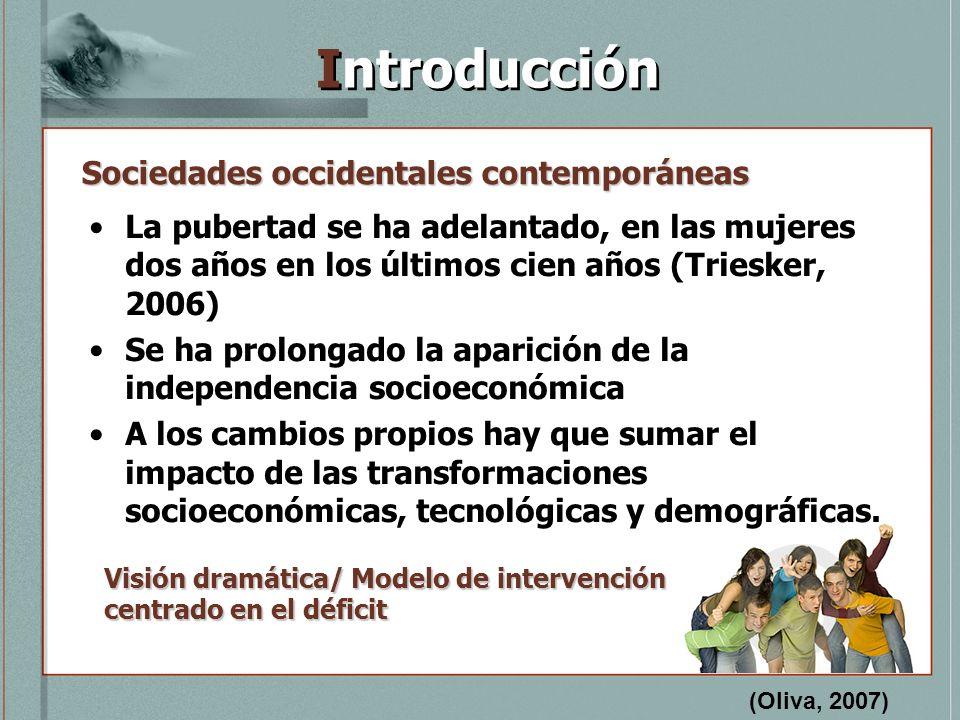Introducción La pubertad se ha adelantado, en las mujeres dos años en los últimos cien años (Triesker, 2006) Se ha prolongado la aparición de la indep
