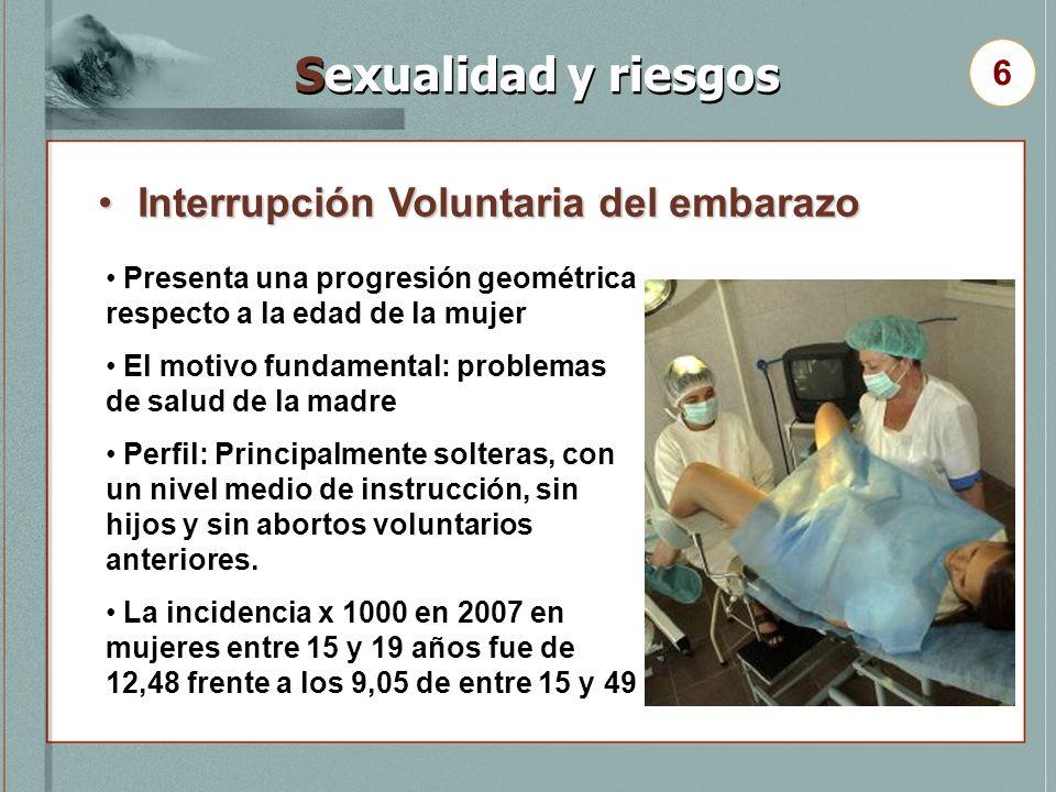 Interrupción Voluntaria del embarazoInterrupción Voluntaria del embarazo 6 Sexualidad y riesgos Presenta una progresión geométrica respecto a la edad