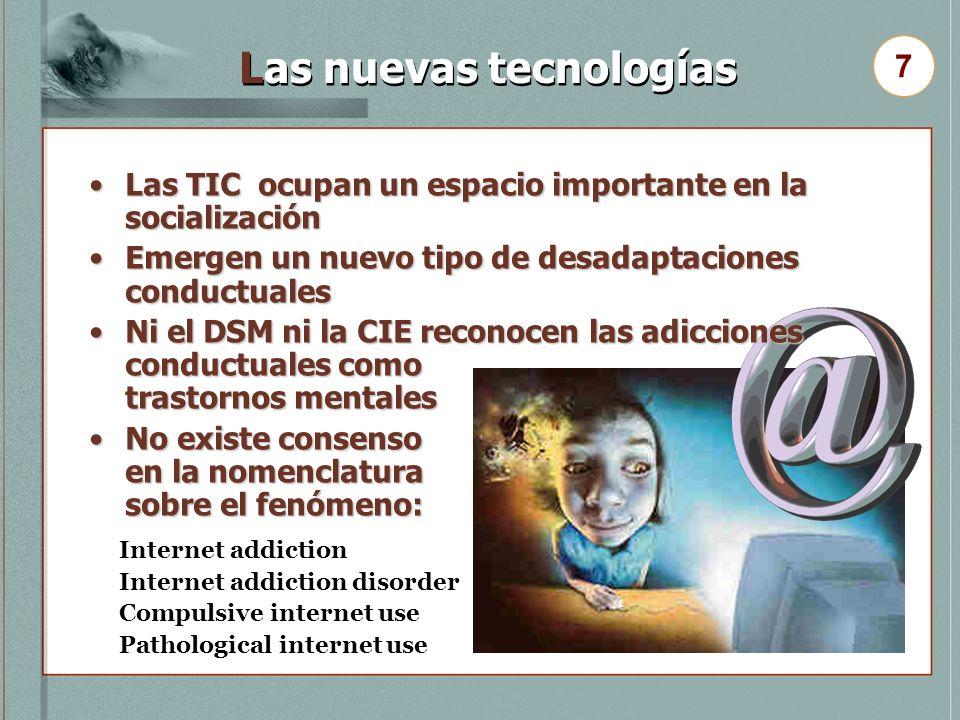 Las nuevas tecnologías Las TIC ocupan un espacio importante en la socializaciónLas TIC ocupan un espacio importante en la socialización Emergen un nue