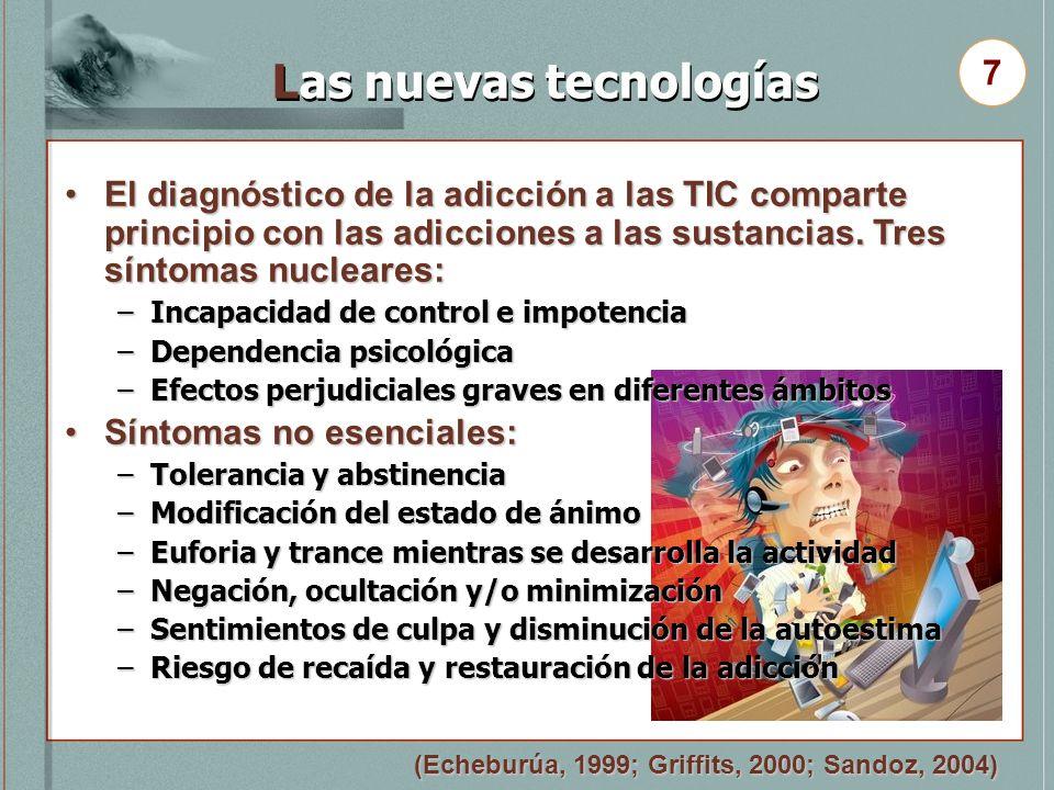 Las nuevas tecnologías El diagnóstico de la adicción a las TIC comparte principio con las adicciones a las sustancias. Tres síntomas nucleares:El diag