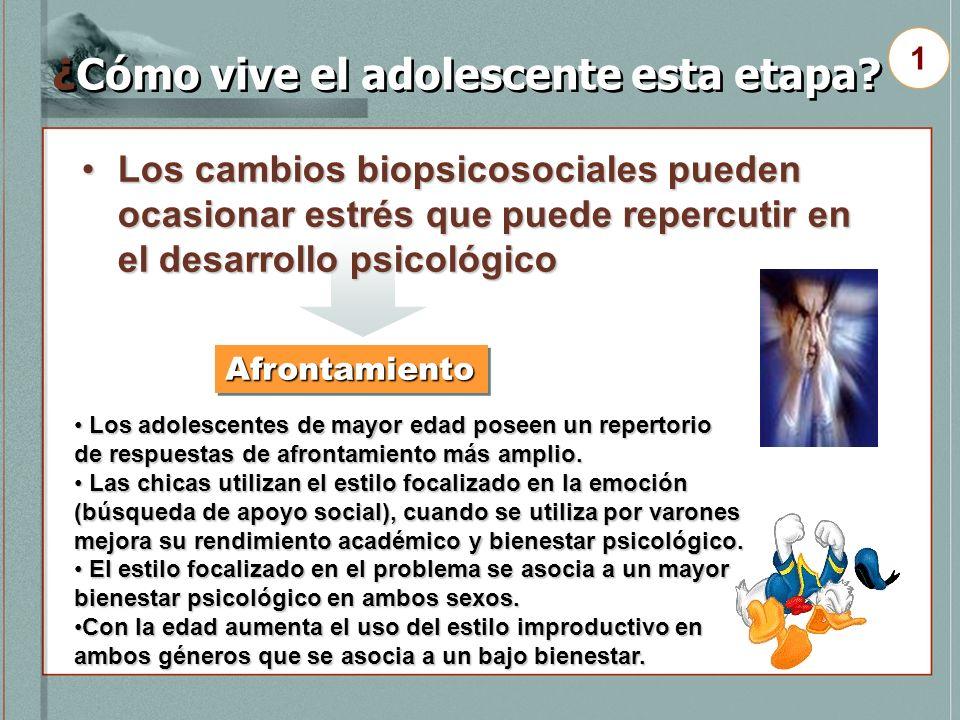¿Cómo vive el adolescente esta etapa? Los cambios biopsicosociales pueden ocasionar estrés que puede repercutir en el desarrollo psicológicoLos cambio