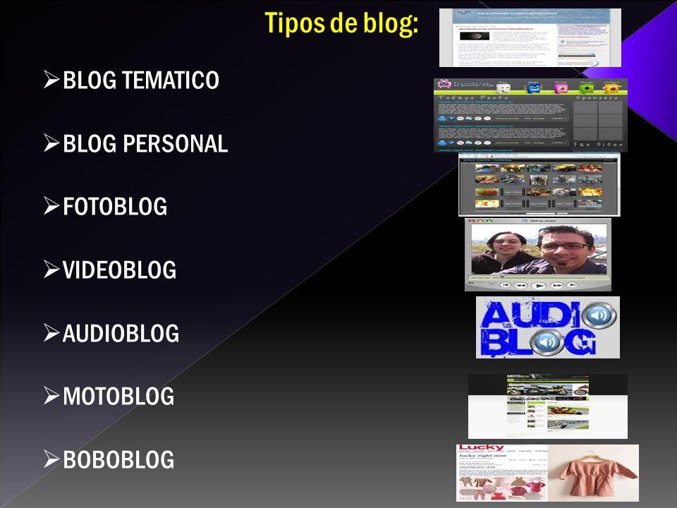 BLOG TEMATICO BLOG PERSONAL FOTOBLOG VIDEOBLOG AUDIOBLOG MOTOBLOG BOBOBLOG Tipos de blog: