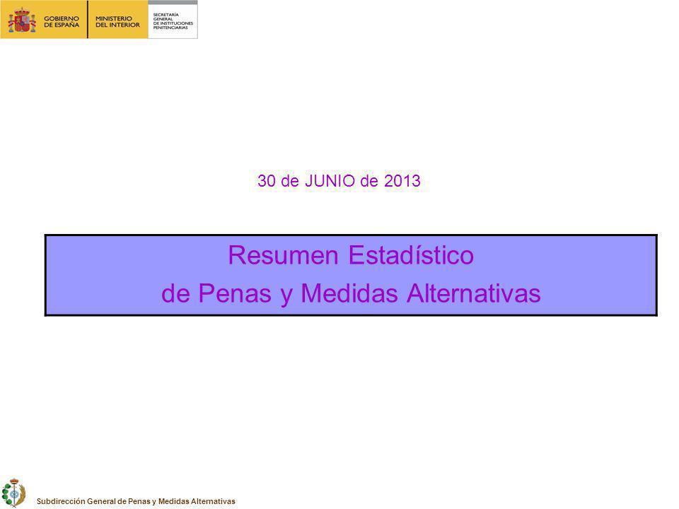 30 de JUNIO de 2013 Resumen Estadístico de Penas y Medidas Alternativas Subdirección General de Penas y Medidas Alternativas