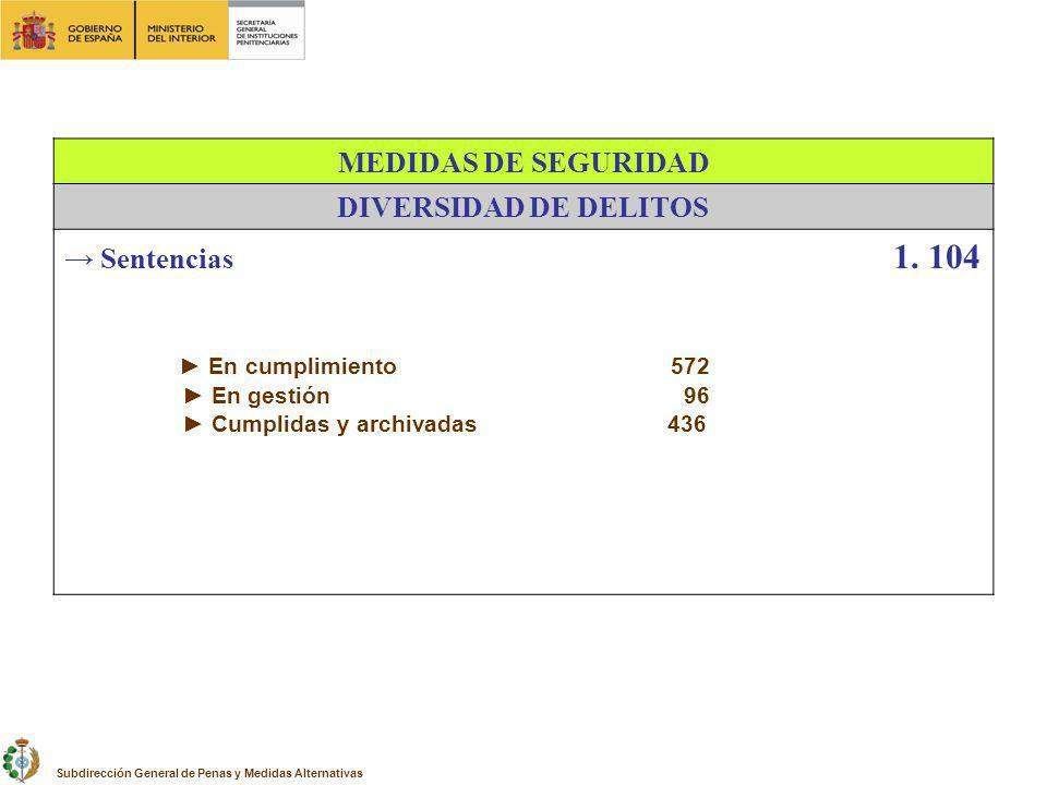 MEDIDAS DE SEGURIDAD DIVERSIDAD DE DELITOS Sentencias 1. 104 En cumplimiento 572 En gestión 96 Cumplidas y archivadas 436 Subdirección General de Pena
