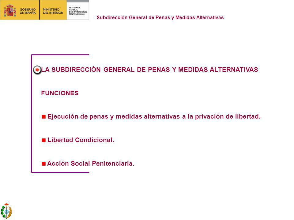 LA SUBDIRECCIÓN GENERAL DE PENAS Y MEDIDAS ALTERNATIVAS FUNCIONES Ejecución de penas y medidas alternativas a la privación de libertad.