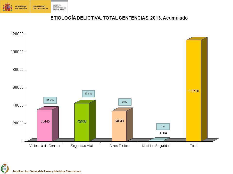 ETIOLOGÍA DELICTIVA. TOTAL SENTENCIAS. 2013. Acumulado Subdirección General de Penas y Medidas Alternativas 31.2% 37.8% 30% 1%