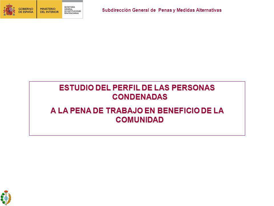 ESTUDIO DEL PERFIL DE LAS PERSONAS CONDENADAS A LA PENA DE TRABAJO EN BENEFICIO DE LA COMUNIDAD Subdirección General de Penas y Medidas Alternativas