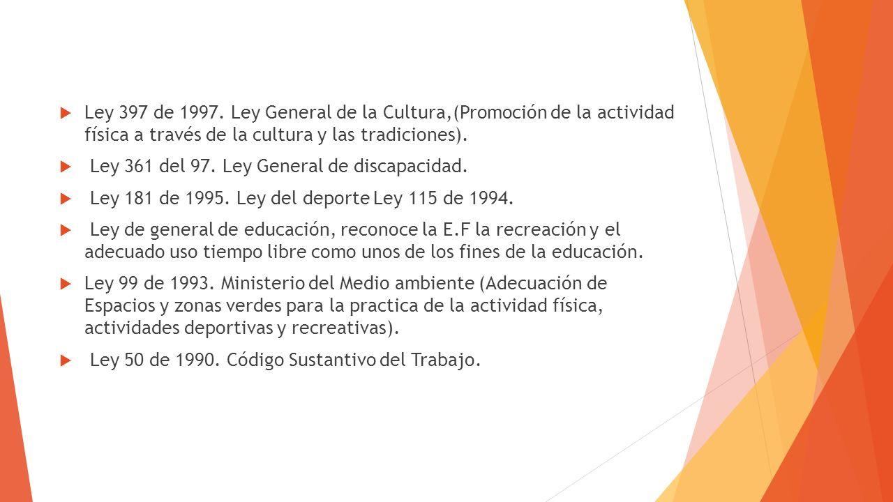 Ley 397 de 1997. Ley General de la Cultura,(Promoción de la actividad física a través de la cultura y las tradiciones). Ley 361 del 97. Ley General de