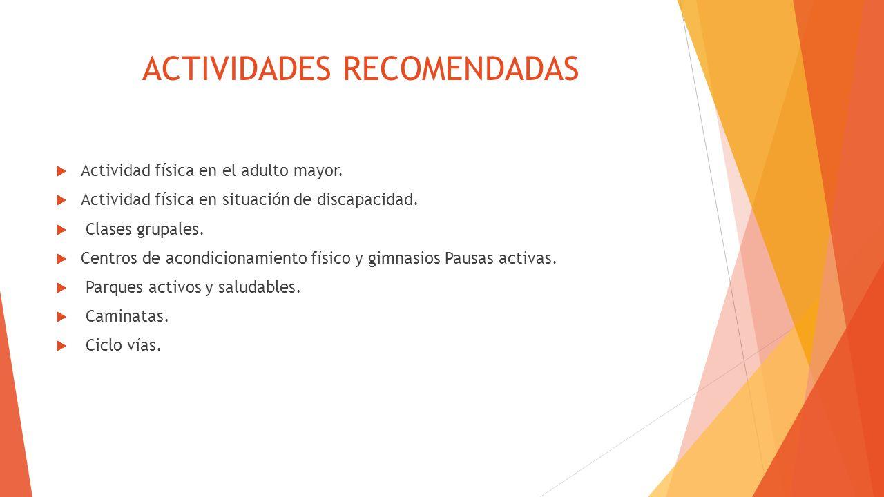 ACTIVIDADES RECOMENDADAS Actividad física en el adulto mayor. Actividad física en situación de discapacidad. Clases grupales. Centros de acondicionami