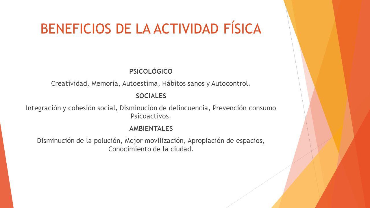 BENEFICIOS DE LA ACTIVIDAD FÍSICA PSICOLÓGICO Creatividad, Memoria, Autoestima, Hábitos sanos y Autocontrol. SOCIALES Integración y cohesión social, D