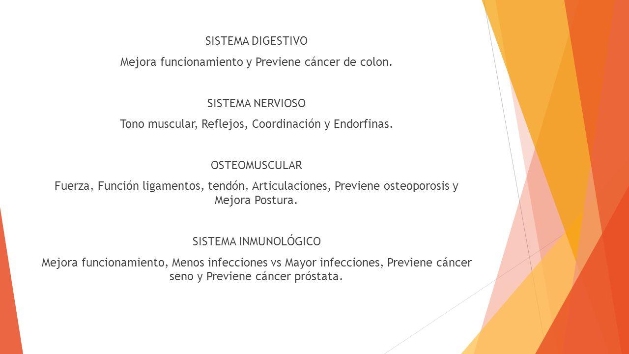 SISTEMA DIGESTIVO Mejora funcionamiento y Previene cáncer de colon. SISTEMA NERVIOSO Tono muscular, Reflejos, Coordinación y Endorfinas. OSTEOMUSCULAR