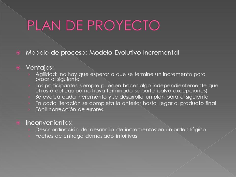 Modelo de proceso: Modelo Evolutivo Incremental Ventajas: Agilidad: no hay que esperar a que se termine un incremento para pasar al siguiente Los part