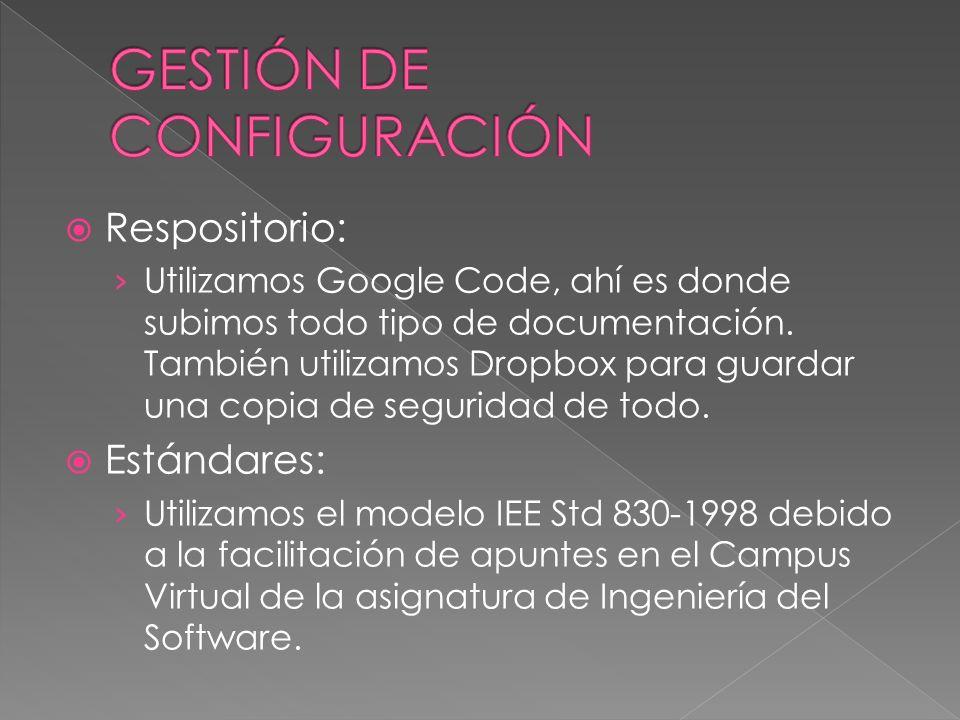 Respositorio: Utilizamos Google Code, ahí es donde subimos todo tipo de documentación. También utilizamos Dropbox para guardar una copia de seguridad