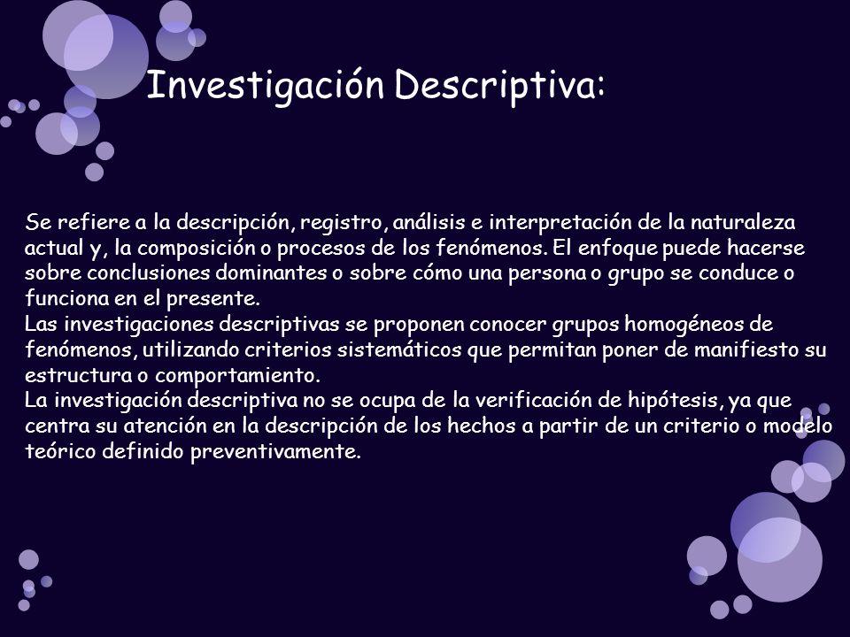 Investigación Descriptiva: Se refiere a la descripción, registro, análisis e interpretación de la naturaleza actual y, la composición o procesos de lo