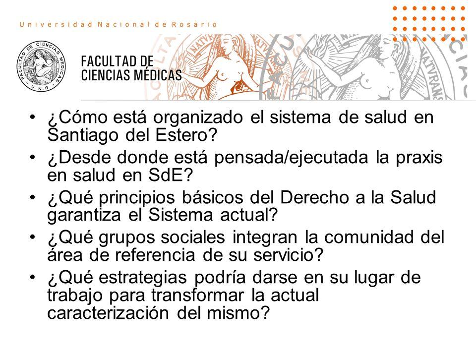 ¿Cómo está organizado el sistema de salud en Santiago del Estero.