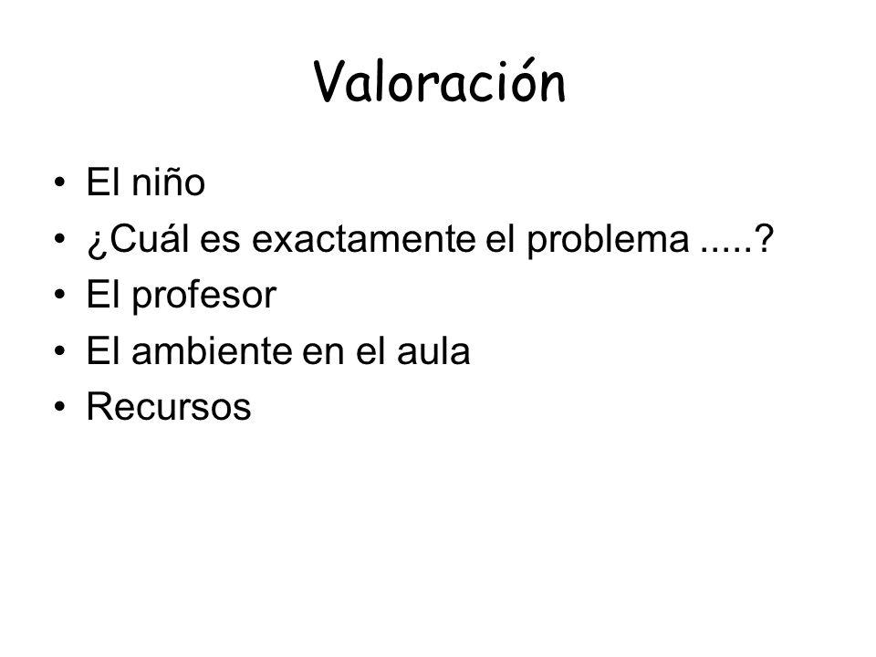 Valoración El niño ¿Cuál es exactamente el problema......