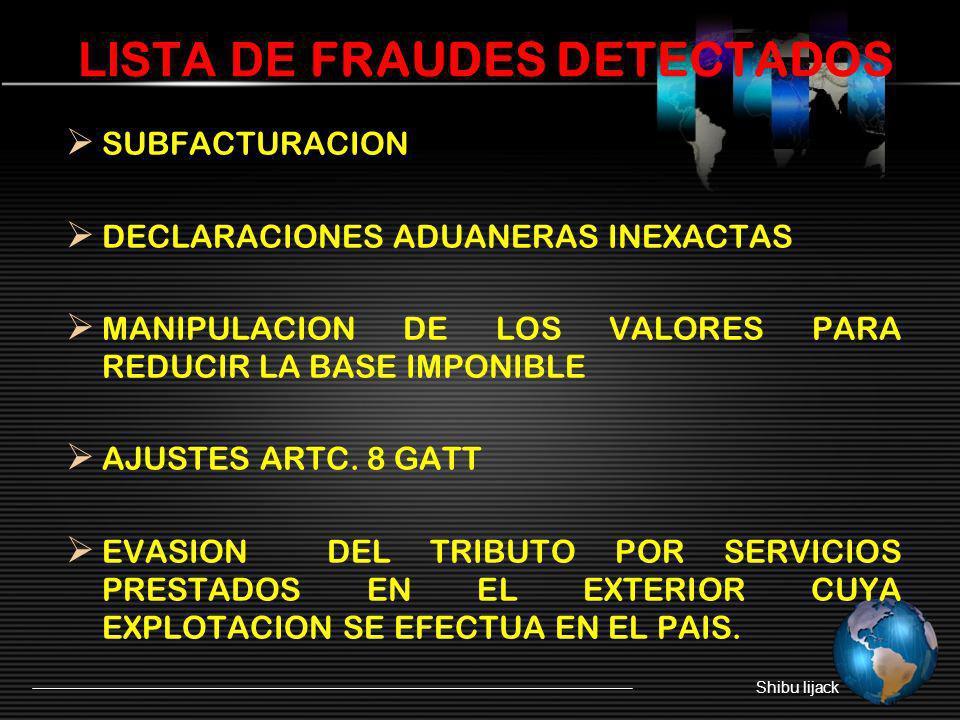 LISTA DE FRAUDES DETECTADOS SUBFACTURACION DECLARACIONES ADUANERAS INEXACTAS MANIPULACION DE LOS VALORES PARA REDUCIR LA BASE IMPONIBLE AJUSTES ARTC.