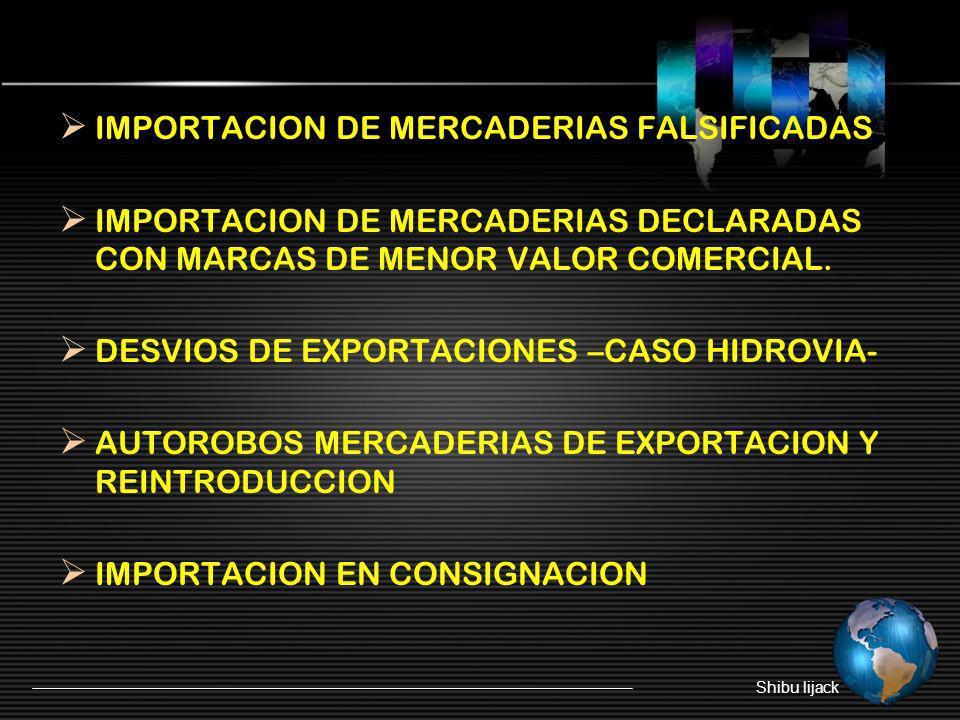 IMPORTACION DE MERCADERIAS FALSIFICADAS IMPORTACION DE MERCADERIAS DECLARADAS CON MARCAS DE MENOR VALOR COMERCIAL. DESVIOS DE EXPORTACIONES –CASO HIDR