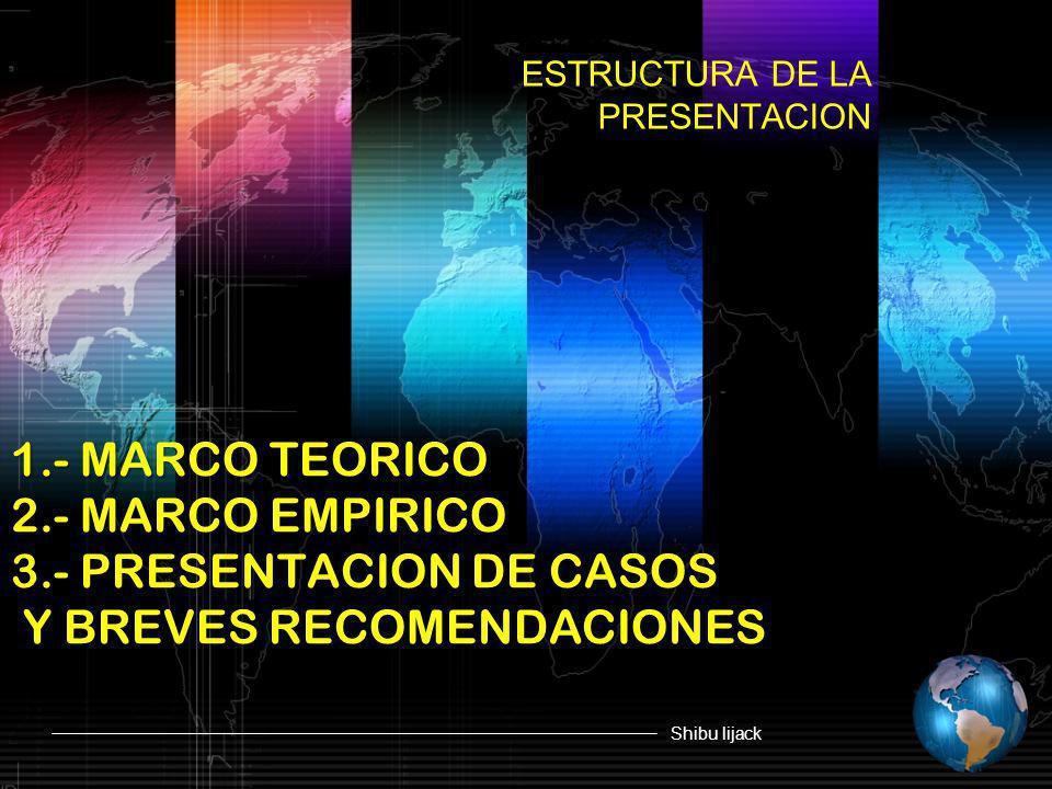 Shibu lijack 1.- MARCO TEORICO 2.- MARCO EMPIRICO 3.- PRESENTACION DE CASOS Y BREVES RECOMENDACIONES ESTRUCTURA DE LA PRESENTACION