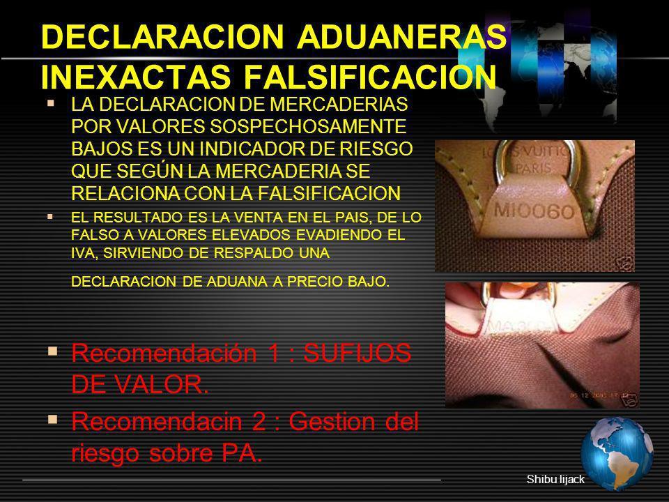 DECLARACION ADUANERAS INEXACTAS FALSIFICACION Shibu lijack LA DECLARACION DE MERCADERIAS POR VALORES SOSPECHOSAMENTE BAJOS ES UN INDICADOR DE RIESGO Q