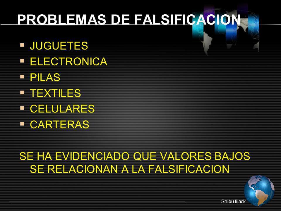 PROBLEMAS DE FALSIFICACION JUGUETES ELECTRONICA PILAS TEXTILES CELULARES CARTERAS SE HA EVIDENCIADO QUE VALORES BAJOS SE RELACIONAN A LA FALSIFICACION