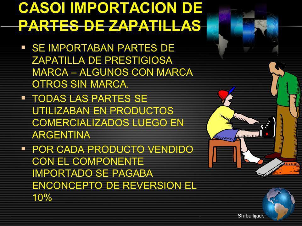 CASOI IMPORTACION DE PARTES DE ZAPATILLAS SE IMPORTABAN PARTES DE ZAPATILLA DE PRESTIGIOSA MARCA – ALGUNOS CON MARCA OTROS SIN MARCA. TODAS LAS PARTES