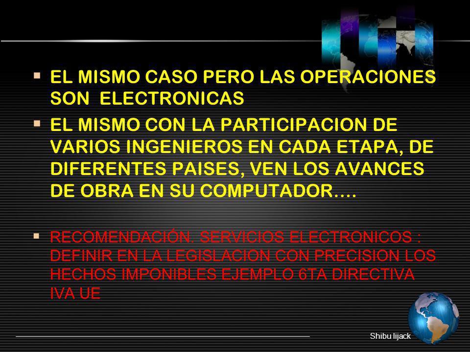 EL MISMO CASO PERO LAS OPERACIONES SON ELECTRONICAS EL MISMO CON LA PARTICIPACION DE VARIOS INGENIEROS EN CADA ETAPA, DE DIFERENTES PAISES, VEN LOS AV