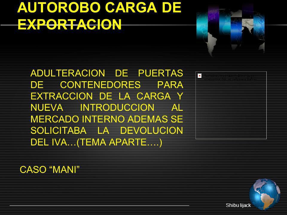 AUTOROBO CARGA DE EXPORTACION ADULTERACION DE PUERTAS DE CONTENEDORES PARA EXTRACCION DE LA CARGA Y NUEVA INTRODUCCION AL MERCADO INTERNO ADEMAS SE SO