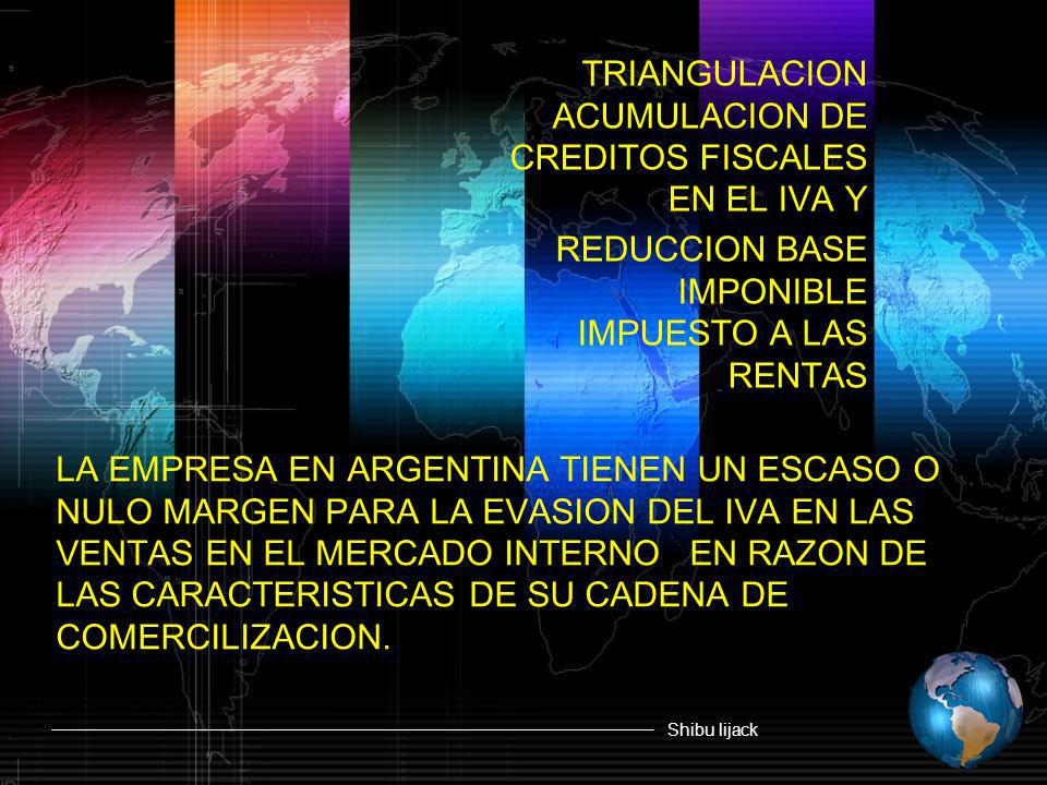 Shibu lijack TRIANGULACION ACUMULACION DE CREDITOS FISCALES EN EL IVA Y REDUCCION BASE IMPONIBLE IMPUESTO A LAS RENTAS LA EMPRESA EN ARGENTINA TIENEN
