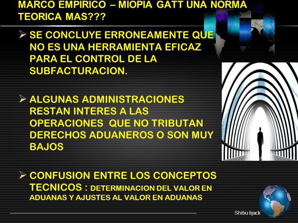 MARCO EMPIRICO – MIOPIA GATT UNA NORMA TEORICA MAS??? SE CONCLUYE ERRONEAMENTE QUE NO ES UNA HERRAMIENTA EFICAZ PARA EL CONTROL DE LA SUBFACTURACION.
