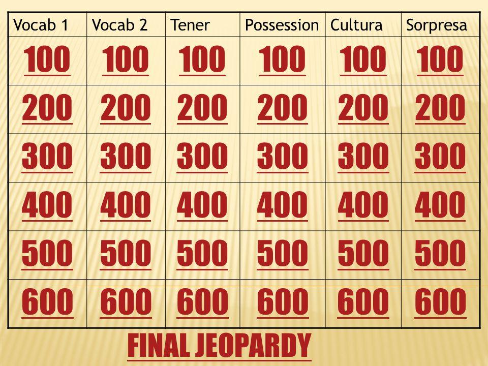 Vocab 1Vocab 2TenerPossessionCulturaSorpresa 100 200 300 400 500 600 FINAL JEOPARDY