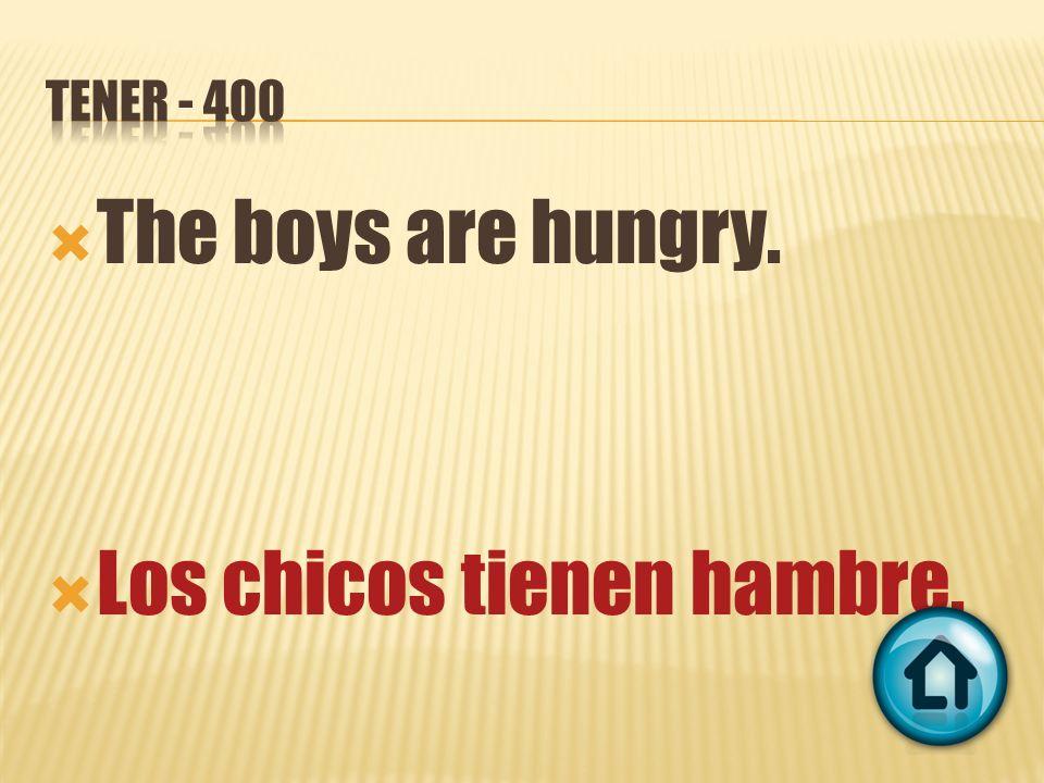 The boys are hungry. Los chicos tienen hambre.